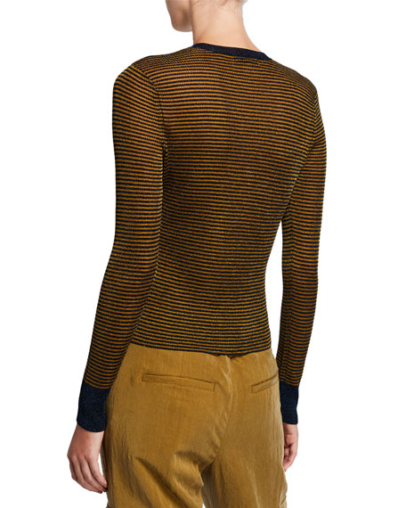 Rag & Bone Raina Striped Crewneck Long-Sleeve Top