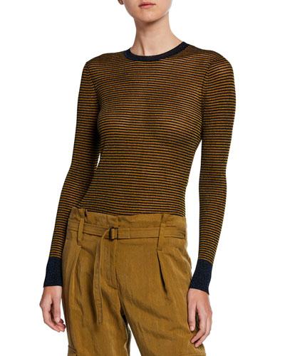 Raina Striped Crewneck Long-Sleeve Top
