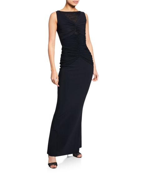 Chiara Boni La Petite Robe Saoirse Illusion Bateau-Neck Sleeveless Column Gown