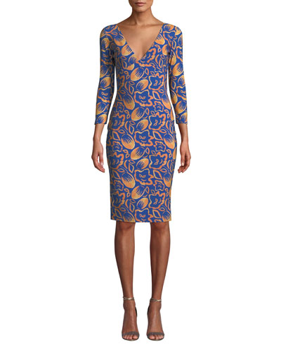 Manisha V-Neck 3/4-Sleeve Printed Dress