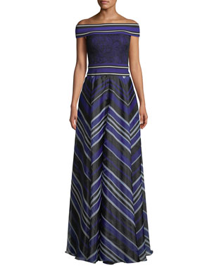 Tadashi Shoji Miter Stripe Off The Shoulder Short Sleeve A Line Gown