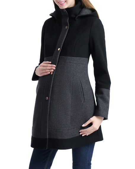 Kimi + Kai Maternity Tessa Wool-Blend Colorblock Coat with Hood