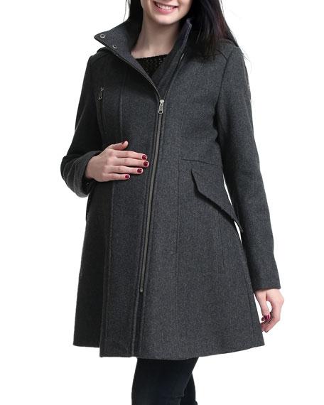 Kimi + Kai Maternity Cordella Asymmetric Zip-Front Wool-Blend Coat