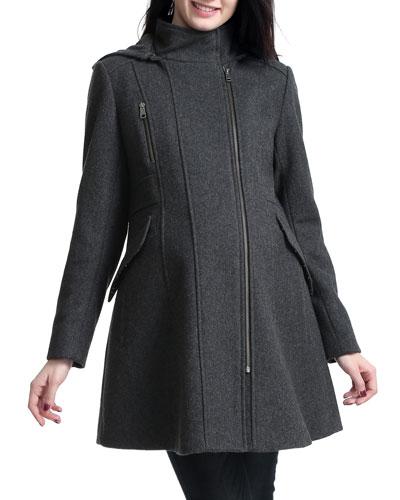 Maternity Cordella Asymmetric Zip-Front Wool-Blend Coat