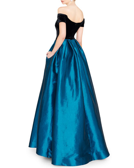 Image 2 of 2: Mac Duggal Off-the-Shoulder Short-Sleeve Velvet Bodice Taffeta Ball Gown