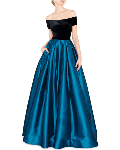 Image 1 of 2: Mac Duggal Off-the-Shoulder Short-Sleeve Velvet Bodice Taffeta Ball Gown