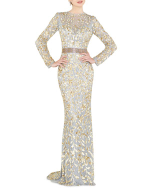 5cb3ac563fb Mac Duggal Sequin High-Neck Long-Sleeve Illusion Gown w  Open Back