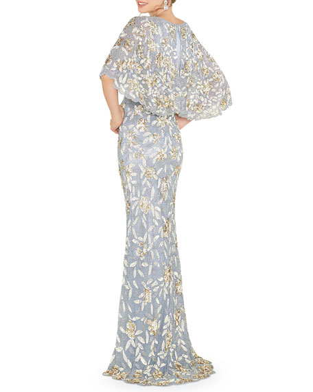 Mac Duggal V-Neck Floral Sequin Metallic Column Gown w/ Cape