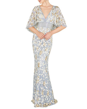 0a69678d Mac Duggal V-Neck Floral Sequin Metallic Column Gown w/ Cape