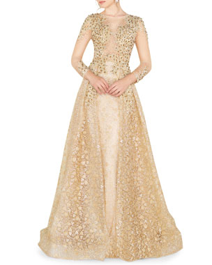 990c09fc931 Mac Duggal High-Neck 3 4-Sleeve Lace Overlay Illusion Gown w