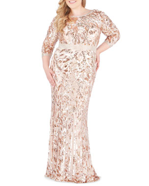 343453c777 Mac Duggal Plus Size Bateau-Neck 3/4-Sleeve Sequin Column Gown