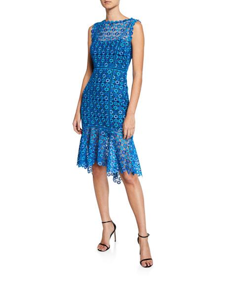Elie Tahari Breanna High Neck Sleeveless Floral Lace Dress