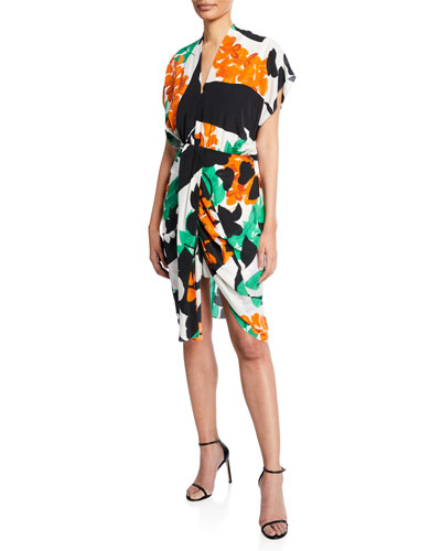Freya Abstract Short-Sleeve High-Low Dress
