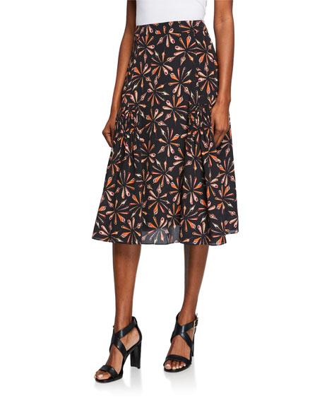 Kobi Halperin Debbie Printed Silk A-Line Skirt