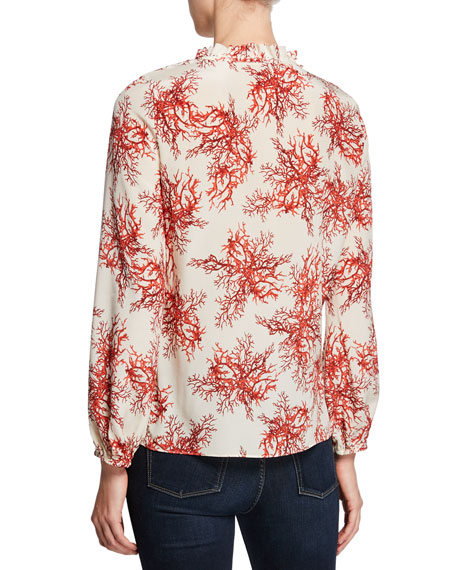 Kobi Halperin Aneesa Printed Long-Sleeve Silk Blouse