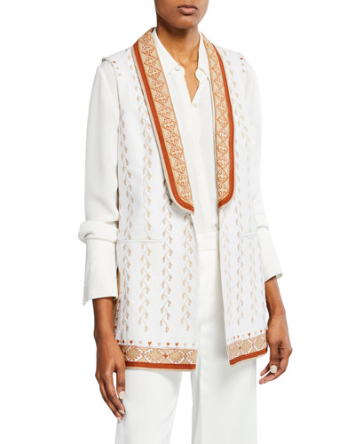 Lili Embroidered Vest with Shawl Collar