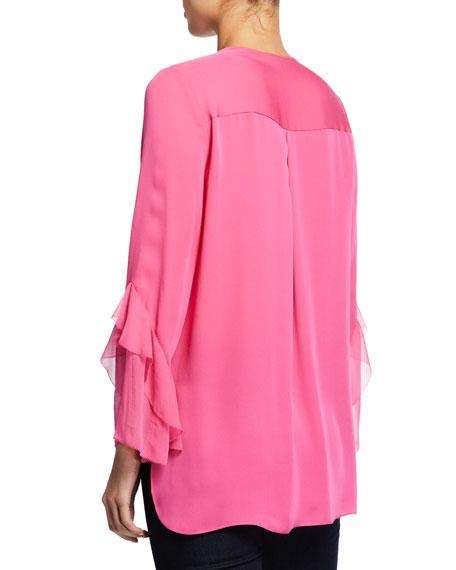 Elie Tahari Karin Crewneck Long-Sleeve Pintucked Blouse