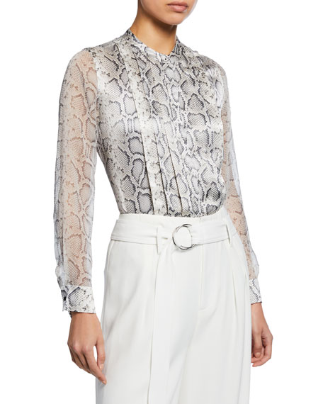 Elie Tahari Terri Snake-Print Button-Down Silk Blouse