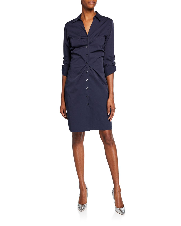 a8230dbc7959f Elie Tahari Skylar Snap-Button Front Shirtdress | Neiman Marcus