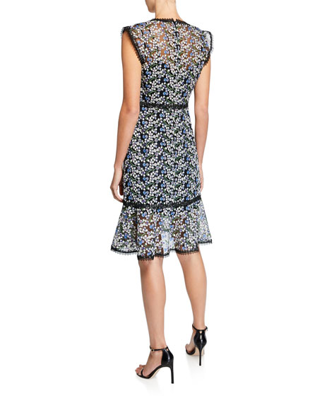 Elie Tahari Florance Floral Mesh V-Neck Sleeveless Flounce Dress