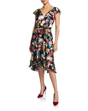 d599c221b9 Elie Tahari Ryder Floral-Print V-Neck Cap-Sleeve Dress