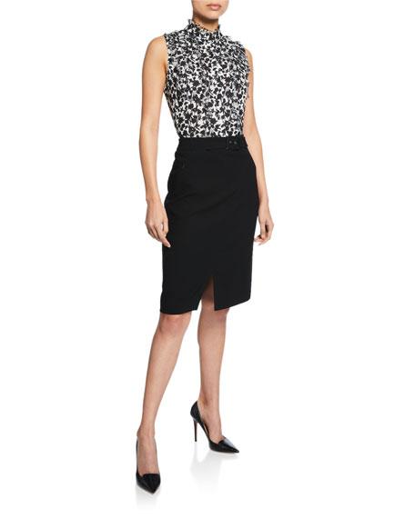 Elie Tahari Gracelyn Belted Crepe Pencil Skirt with Front Slit