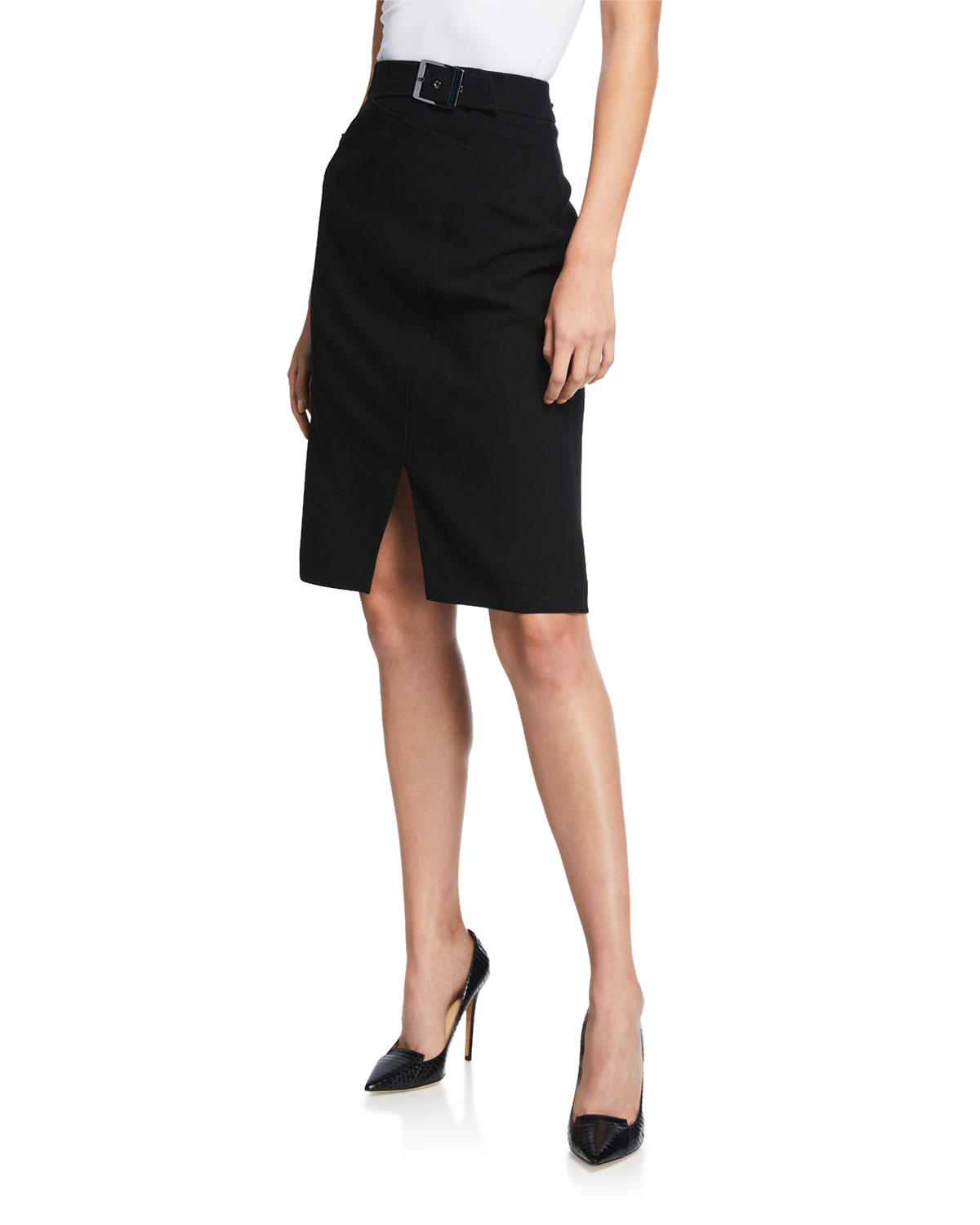 add4a224bf Elie Tahari Gracelyn Belted Crepe Pencil Skirt with Front Slit ...