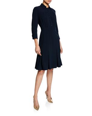 aad2d32866f8 Elie Tahari Brinx Button-Front 3/4-Sleeve Shirtdress