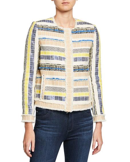 Elie Tahari Ceanna Button-Front Checkered Tweed Jacket