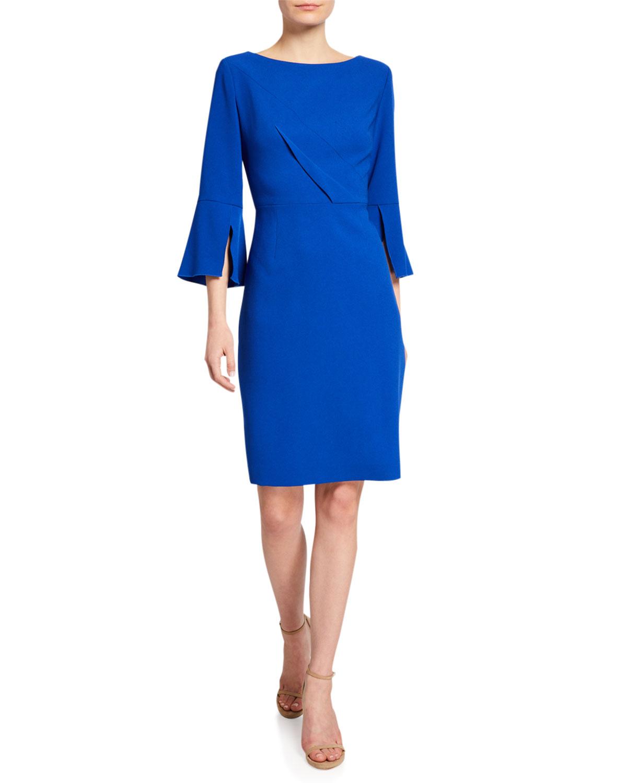 9f4a42e4 Elie Tahari Isla Bell-Sleeve Sheath Dress | Neiman Marcus