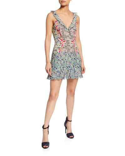 Amy Sleeveless Silk Short Dress  Multi