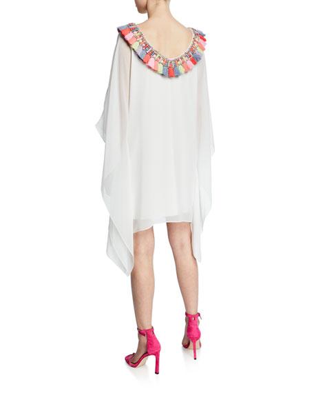 Badgley Mischka Collection Tassel-Neck Embellished Draped-Sleeve Caftan Dress