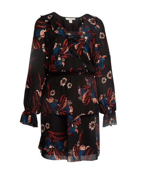 Joie Nour Floral-Print Tiered Ruffle Short Dress