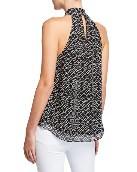 Joie Leikyn Geo-Print Self-Tie Silk Top