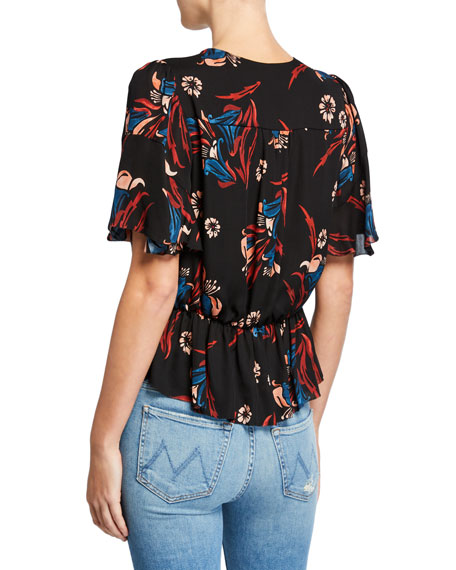 Joie Bisma Cropped Floral Peplum Top