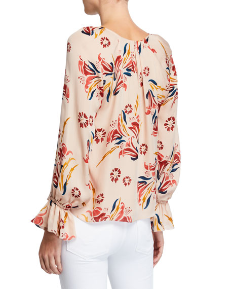 Joie Boyana Floral-Print V-Neck Long-Sleeve Silk Top