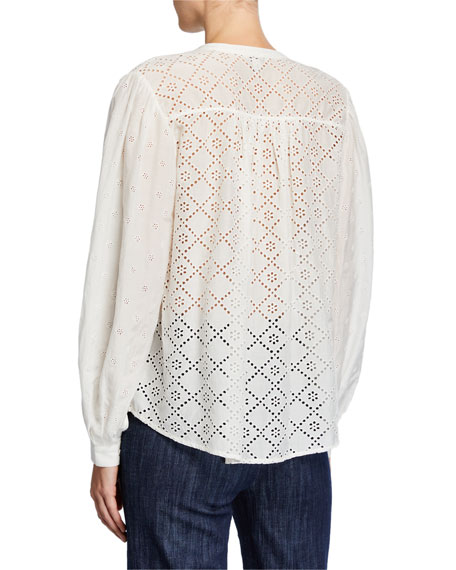 Joie Janah Balloon-Sleeve Eyelet Top