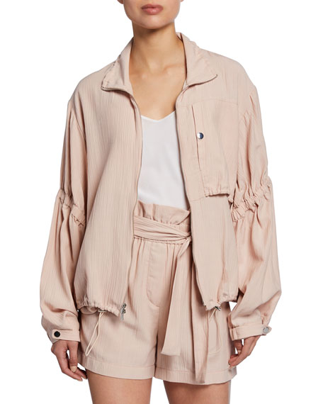 3.1 Phillip Lim Zip-Front Anorak Jacket with Cinched Sleeves