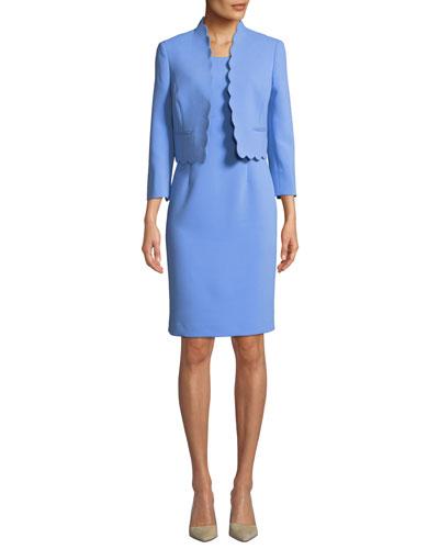 Two-Piece Scallop-Edge Topper & Dress Set