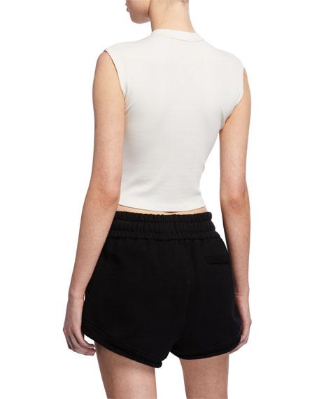 alexanderwang.t Variegated Compact Sleeveless Jersey Crop Top