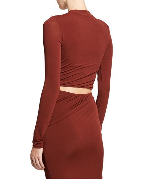 alexanderwang.t Twisted Mock-Neck Long-Sleeve Cropped Jersey Top