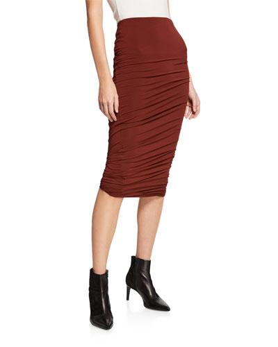 Twisted Crepe Jersey Midi Skirt