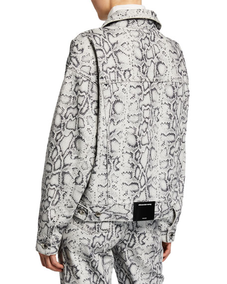 alexanderwang.t Game Python-Print Denim Trucker Jacket