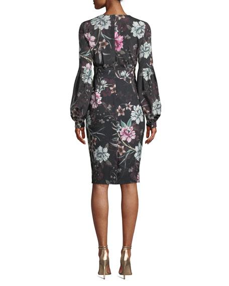 Badgley Mischka Collection Floral V-Neck Balloon-Sleeve Dress