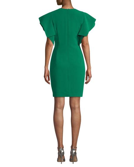 Black Halo Simona Ruffle-Sleeve V-Neck Dress
