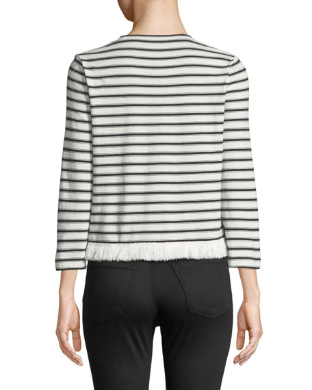kate spade new york stripe knit fringe top