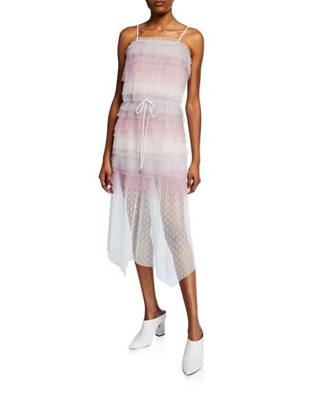 Elliatt Dresses MARIGOLD SLEEVELESS TIERED LACE MIDI DRESS
