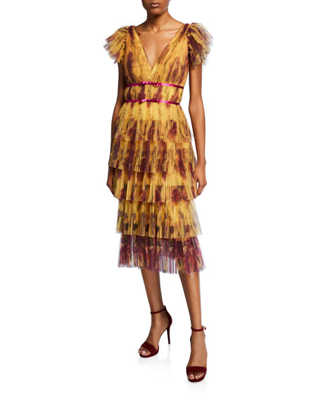 Marchesa Notte Dresses FLORAL-PRINT FLUTTER-SLEEVE PLEATED COCKTAIL DRESS W/ TIERED SKIRT