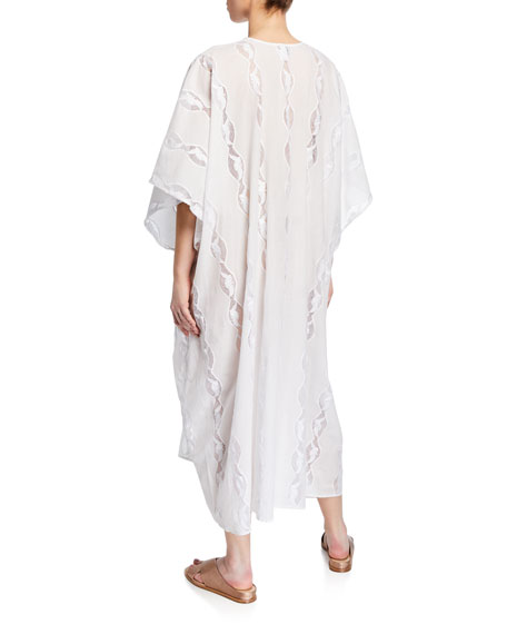 Miguelina Blair Lace-Up Embroidered Long Caftan