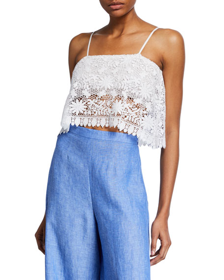 Miguelina Cada Floral Cotton Lace Crop Top